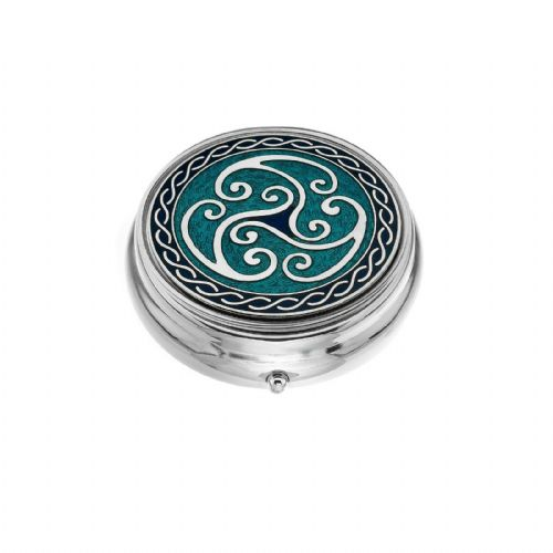Large Pill Box Silver Plated Celtic Triskele Coils Blue Brand New & Boxed